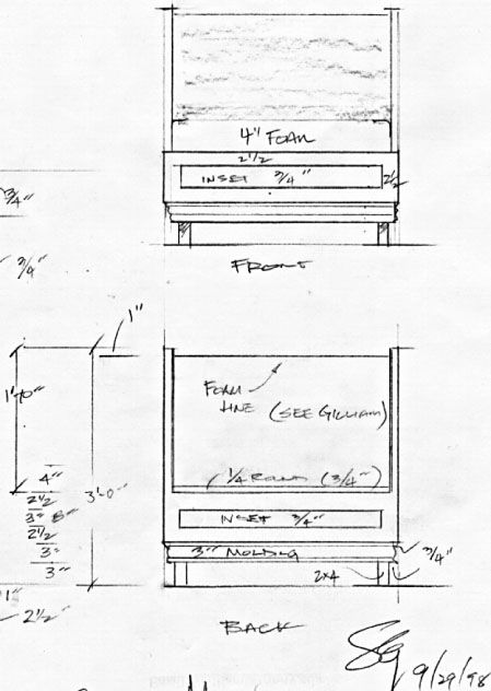 Elevation Plan End View : Glass menagerie drafting